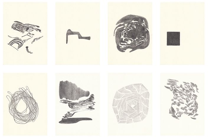 Raimond Chaves  Afinación II, 2011-2012  Set of 8 drawings, pencil on paper, 21 x 29,7 cm each