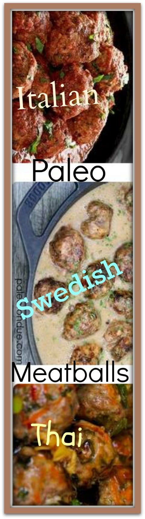 paleo meatballs  Healthy gluten-free, dairy-free Paleo Italian meatballs, Swedish meatballs & Thai meatballs. Please Repin #carbswitch