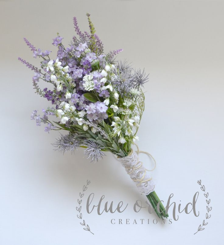 Purple Wildflower Bouquet - Rustic Bouquet, Lavender Wildflower Bouquet, Shabby Chic Bouquet, Bridal Bouquet, Boho Bouquet by blueorchidcreations on Etsy