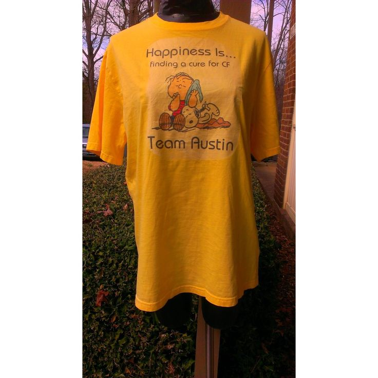 "Mens ""Happiness is Finding A Cure for Autism"" Charlie Brown Yellow Shirt Top Tee T Shirt Sz Medium- Team Austin"