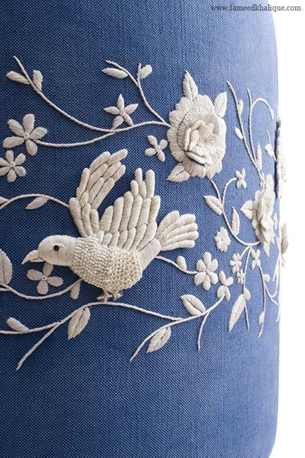 Our Hand Embroidery collection uses couture techniques to create amazing bespoke designs. Use on cushions, upholstery, headboards – the applications are endless. Embroidery, 2014 Collection, EFK 7