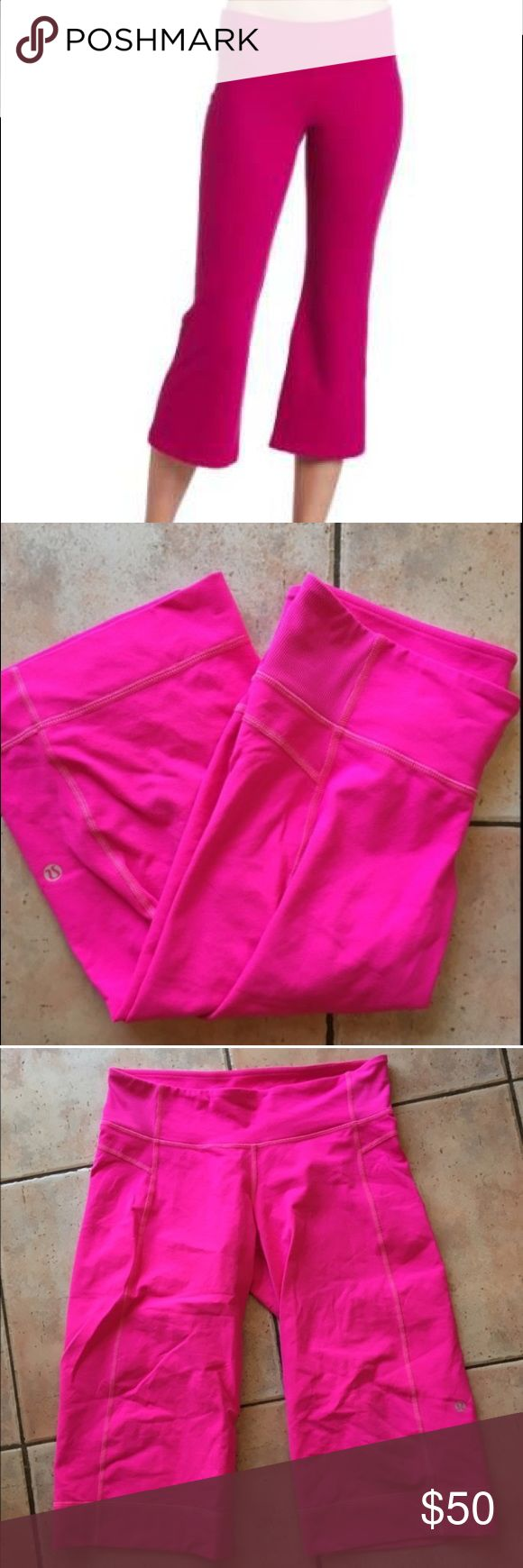 Lululemon Pink Crop Flare Yoga Pants Leggings Lululemon hot pink yoga pants. The color is so fun. Size 8, slight flare, and cropped. Only worn twice lululemon athletica Pants Leggings