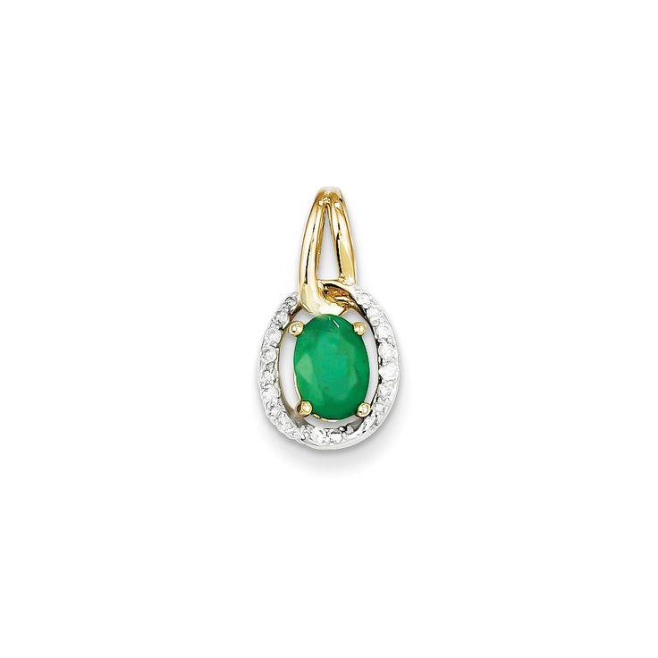 0.12 Ct 14k Yellow Gold Diamond & Emerald Pendant – Goldia.com