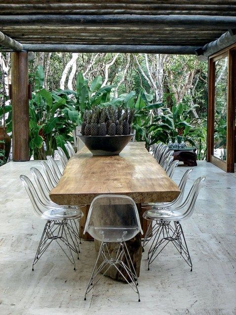 Outdoor dining table, plastic chairs, garden