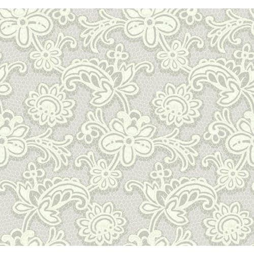 York Wallcoverings DE8812 Modern Lace Wallpaper, Grey metallic