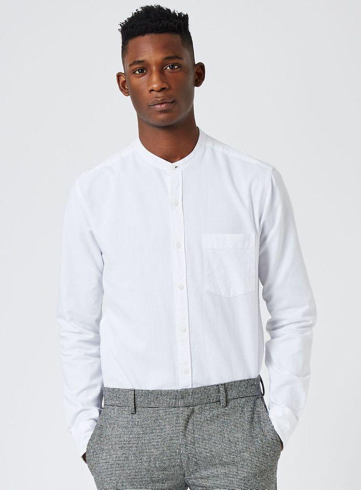 White Stand Collar Oxford Shirt