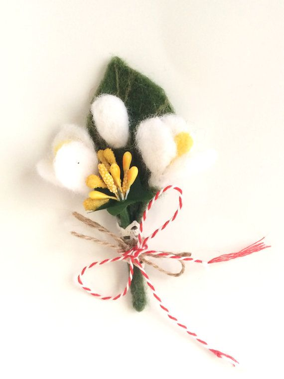 Felted snowdrop flower brooch pin Martisor by EcoPositive on Etsy