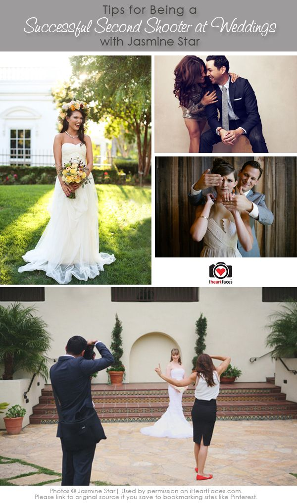 Tips from Jasmine Star on How To Be a Successful Second Shooter - http://www.iheartfaces.com/2013/08/wedding-photography-second-shooter-tips/