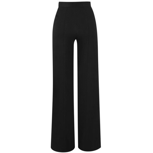 Amanda Wakeley Black Satin Wide Leg Pants ($620) ❤ liked on Polyvore featuring pants, black, wide leg, lined pants, wide-leg trousers, satin trousers, wide leg pants and lining pants