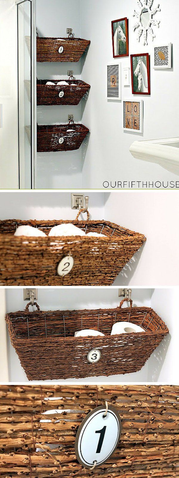 Check out the tutorial: #DIY Window Box Bathroom Storage #crafts #homedecor Master Bath potty room - just above garbage pail.