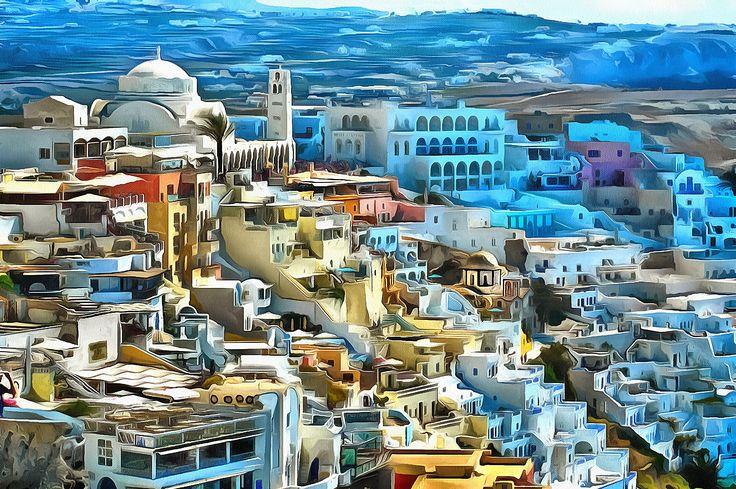 View to Fira Santorini, Greece