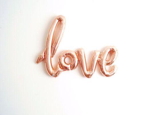LIVRAISON gratuite rose or LOVE air remplissage jumbo mylar ballon mariage fiançailles douche nuptiale calligraphie script - ballon Air remplissage