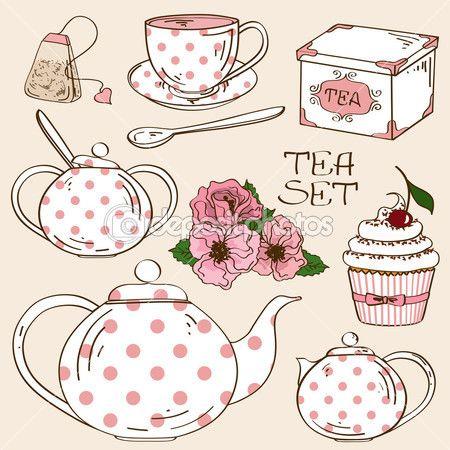 Az elszigetelt tea szolgáltatás ikonok — Stock Illusztráció #37902791