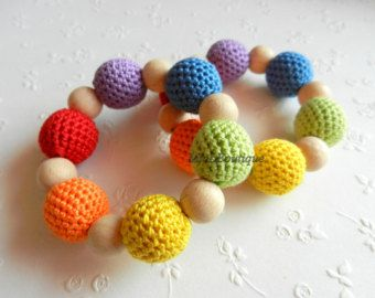 Items similar to Teething ring Baby teether Crochet Wood teether Crochet teething toy Gift for baby on Etsy