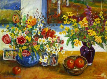 This is an original acrylic on canvas floral still life painting....