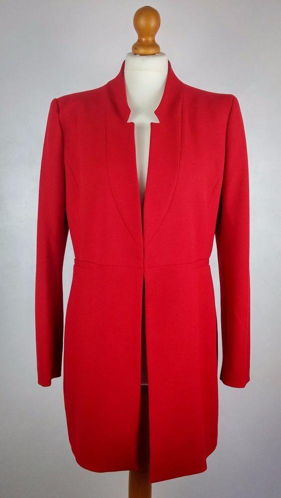 Zara Inverted Lapel Frock Coat Smart Jacket in Red Size XL UK 16