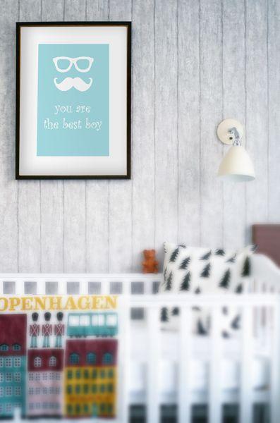 Mustache blue - plakat z autorską grafiką W RAMIE - skandi-design - Plakaty dla dzieci