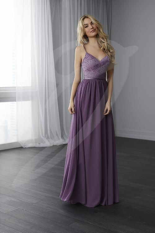 Balletts Bridal - 24816 - Bridesmaids by Jacquelin Bridals Canada - This draped lace bodice features spaghetti straps that meet in a V at the back. The skirt is made of gathered chiffon while the waist is finished with a thin satin belt.  Pictured in Wisteria/Wisteria/Wisteria.
