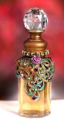 perfume bottle - decorate plain bottle with metal filigree, paint and cut glass knob