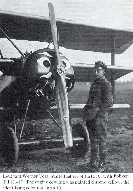 leutnant werner voss staffelfuehrer of jasta 10 with fokker dr i 103 17 ww1 aircraft. Black Bedroom Furniture Sets. Home Design Ideas
