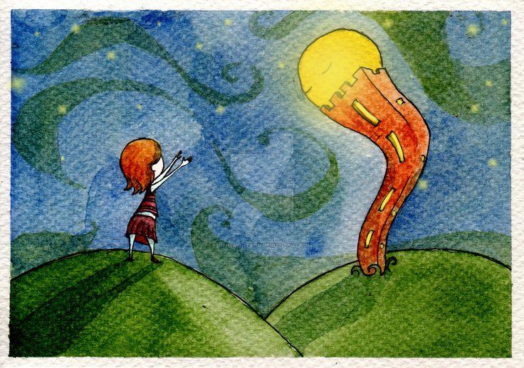 Scendi, ti prometto che ci divertiremo. by IreneMontano #childrenillustration #chilhood #moon #tower #childrendreams