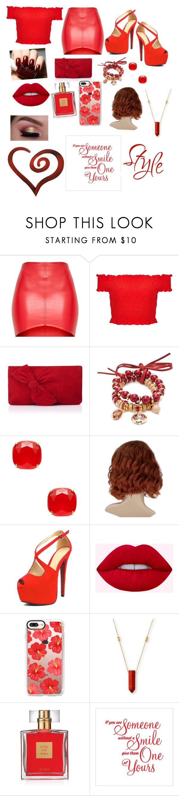 """The girl in red"" by mebanks05 on Polyvore featuring Miss Selfridge, L.K.Bennett, Accessory PLAYS, Kate Spade, Casetify, Alex and Ani, Avon and Letter2Word"
