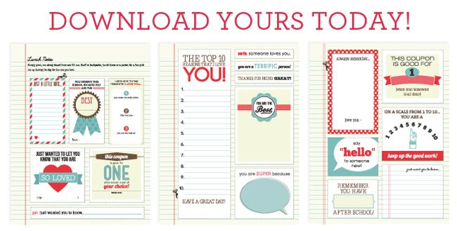 Lunch Notes free printables || Paper Coterie