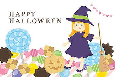 お菓子PARTY ハロウィンカード 2016  無料 イラスト 青い瞳の魔法使いの少女と、色とりどりのお菓子のイラストです。かぼちゃランタンのクッキーなど、見ていてお腹が空きそうなハロウィンカードです。