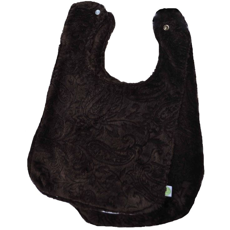 Paisley Minky Baby Bib w/ Cotton Back Brown 2 Pack
