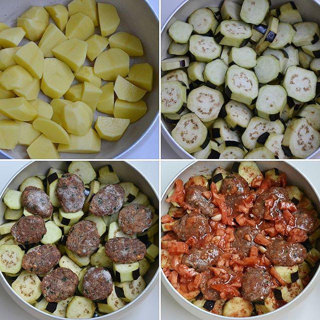 Tencerede Patates Patlıcan Köfte