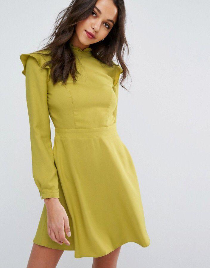 Miss Selfridge High Neck Ruffle Dress