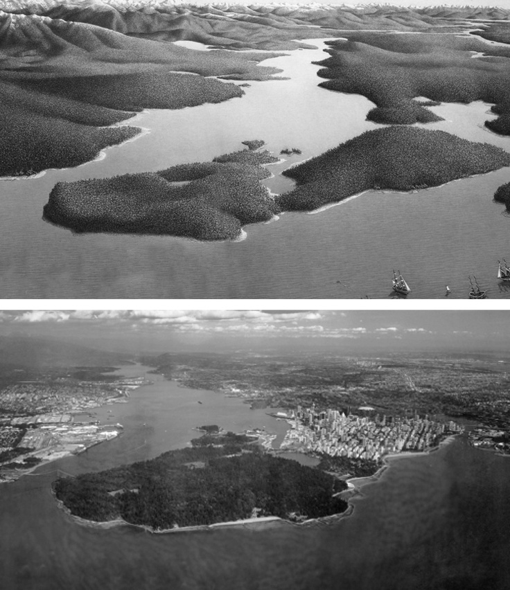 Probably the most stretched then & now comparison we've ever seen. Notice the small villages that stood around English bay, Sunset Beach, and Ambleside park. Thanks to MappingFalseCreek for great images! http://ow.ly/cti5u