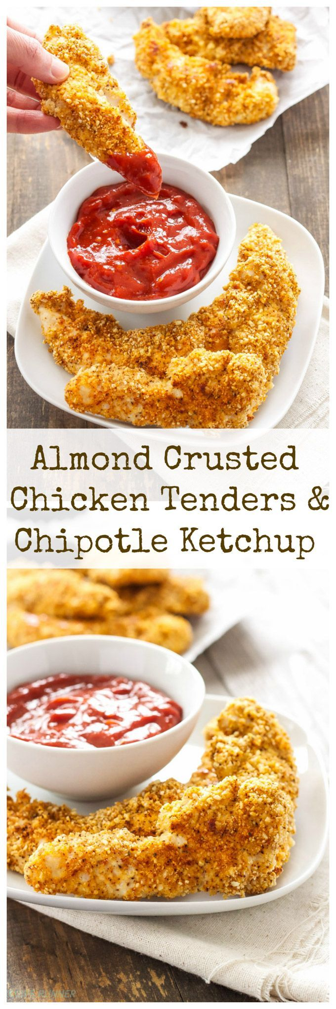 Almond Crusted Chicken Tenders with Chipotle Ketchup | These healthy and gluten free baked chicken tenders are an easy meal the whole family will love!