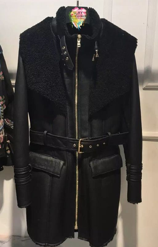 Micha Black Shearling Coat