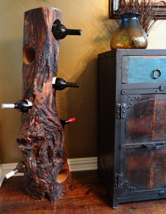 SALE!!  Wine Rack Corking Station Wine Storage Log 7 Bottle Holder made from TEXAS Osage Orange Wood