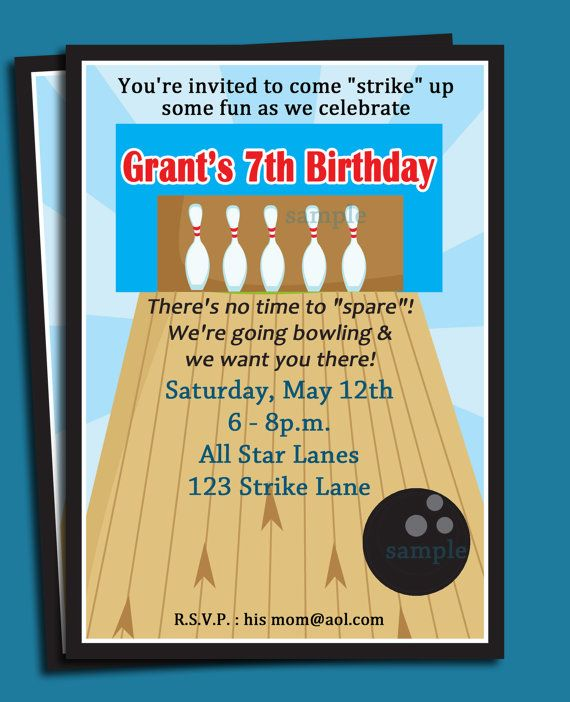 57 best Bowling Party images on Pinterest Bowling party - bowling invitation