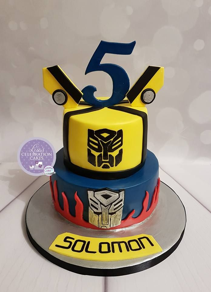 Prime Two Tier Transformer Themed Cake With Handpainted Logos With Funny Birthday Cards Online Alyptdamsfinfo