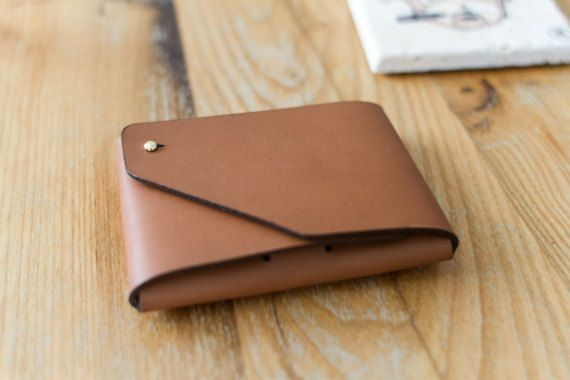 Mone'Fold Seamless Leather Wallet Brown Color