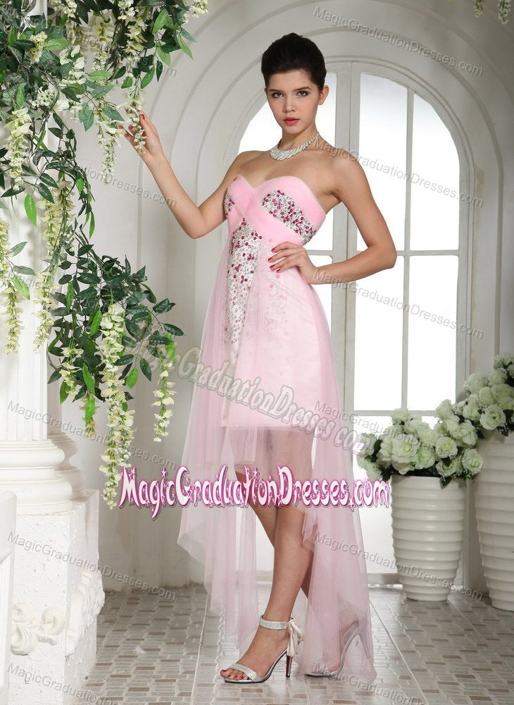 Unique Baby Pink Beaded Sweetheart High-low Prom Dress for Graduation