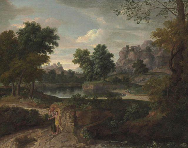 From Christie's Old Masters , Francisque Millet, Two figures on a path in a wooded classical landscape, buildings and a pool of water beyond, Oil on canvas, 74 3/10 × 92 7/10 cm