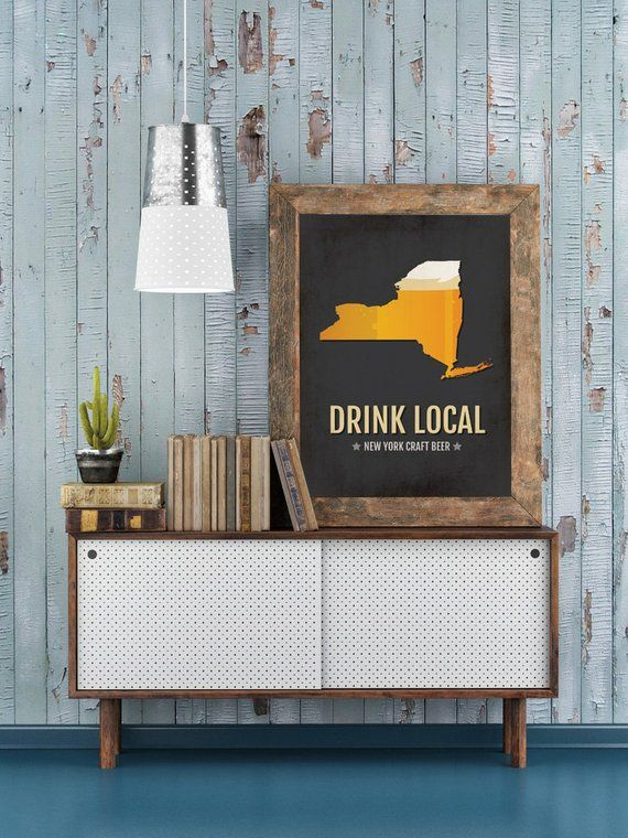 New York Beer Print Map – NY Drink Local Craft Beer Sign – Boyfriend Gift, Husband Gift, Beer Gift,