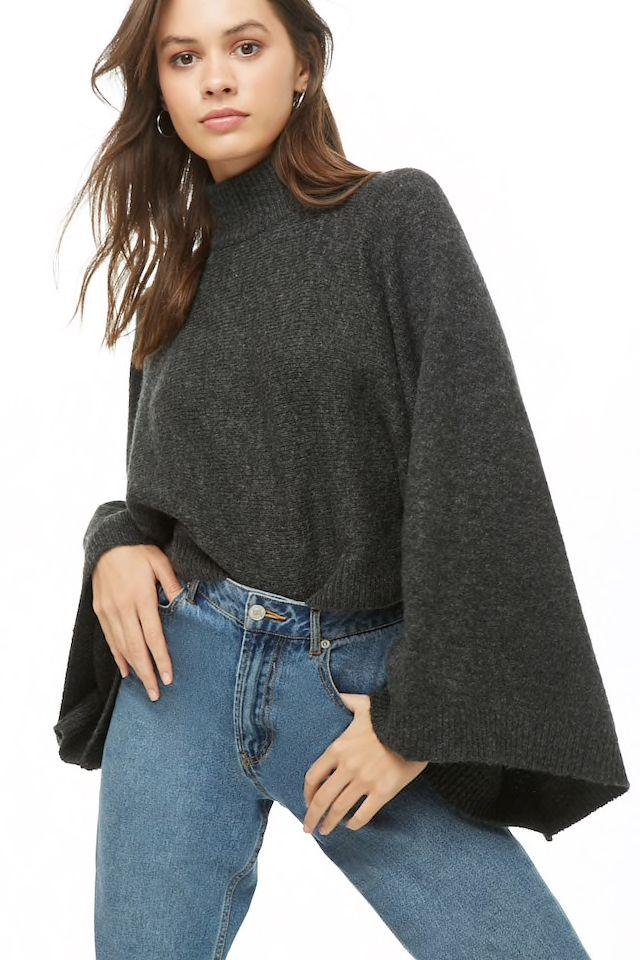 7bfecbb9f8 Turtleneck Wide-Sleeve Sweater