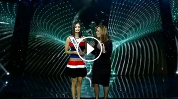 """Miss Universe 2015 Pia Wurtzbach made another appearance on """"Good Day New York"""", wherein she re-enacted the crowning mix-up, together with the show's hosts Rosanna Scotto and Greg Kelly."""