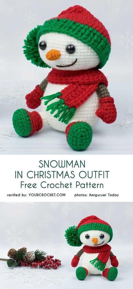 Snowman in Christmas Outfit Free Crochet Pattern | joyeria navideña ...
