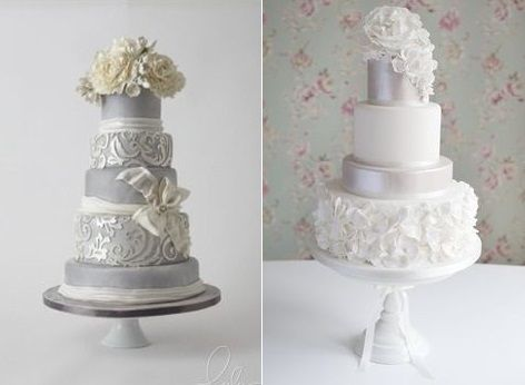 silver wedding anniversary cake ideas from LuLu Cake Boutique left and from Cotton and Crumbs right