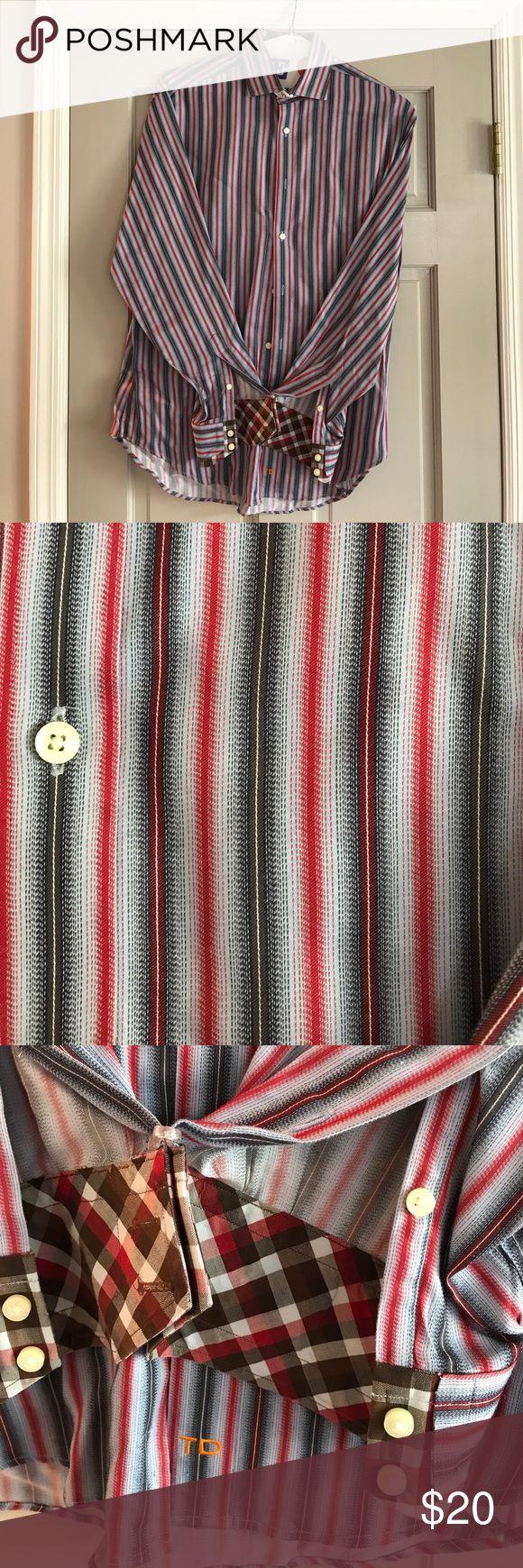 Thomas Dean casual button down shirt Medium casual button down red/black/grey striped (worn once) Thomas Dean Shirts Casual Button Down Shirts