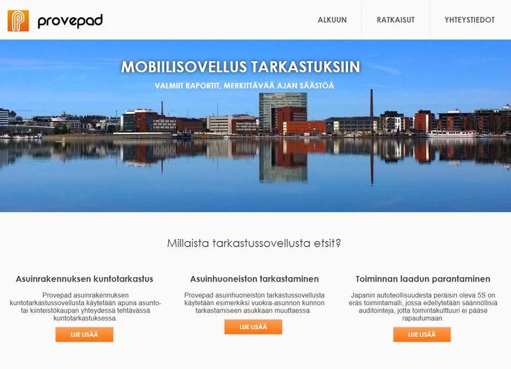Provepad - tarkastusovelluksen kotisivut. Mobiilisovellus erilaisiin tarkastuksiin. Kuntotarkastukset, asuntotarkastukset, laatutarkastukset. http//www.teamprog.fi