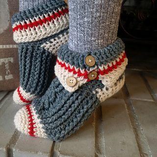 Sock monkey slippers pattern -crochet
