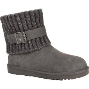 UGG CAMBRIDGE WINTER BOOTS WOMENS Foldover heathered knit collar with adjustable strap and suede upper #womenwinterboots