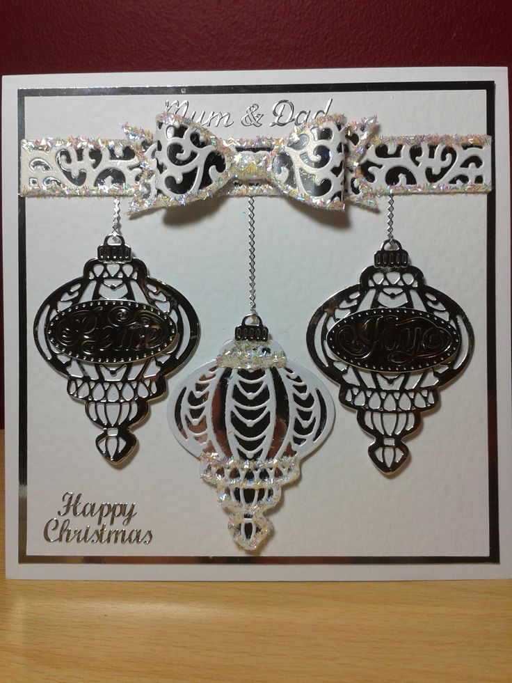 Christmas Baubles card, die-cut using Creative Expressions ...